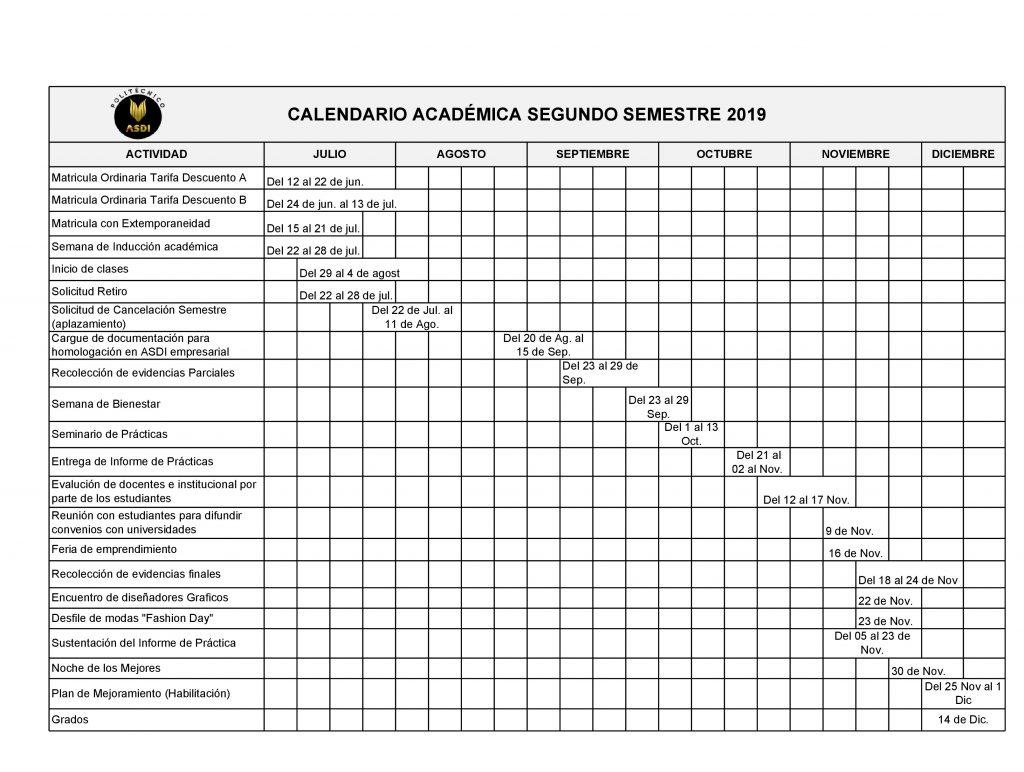 Calendario Politecnico.Calendario Academico Politecnico Asdi